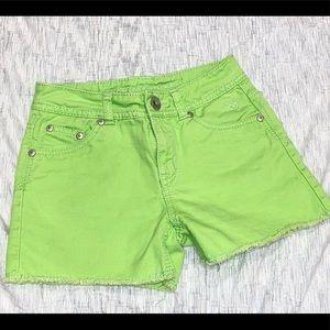 Justice bright green cutoff style shorts 12 slim